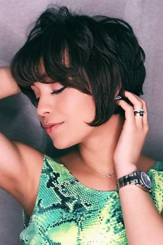 Bob Hairstyle With A Bang #shortbobhairstyles #bobhairstyles #hairstyles #layeredhair #blackhair