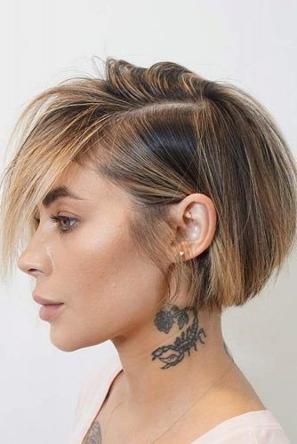 Deep Side Parted Short Bob #shortbobhairstyles #bobhairstyles #hairstyles #straighthair