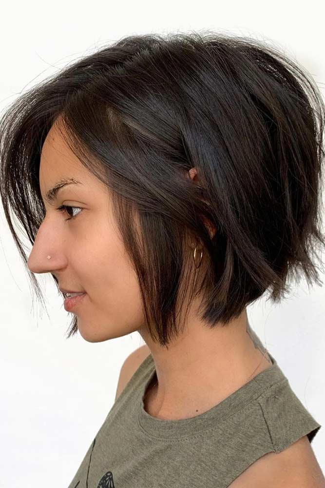 Textured Brown Side Parted Bob #shortbobhairstyles #bobhairstyles #hairstyles