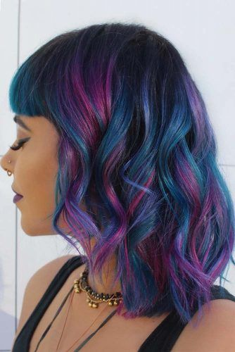Blue & Purple Medium Waves with Bangs