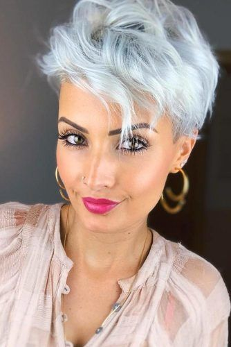 Wavy Pixie with Bangs Gray Hair