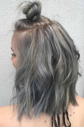 Cute Hairstyles for Shoulder Length Hair with Top Knots picture2