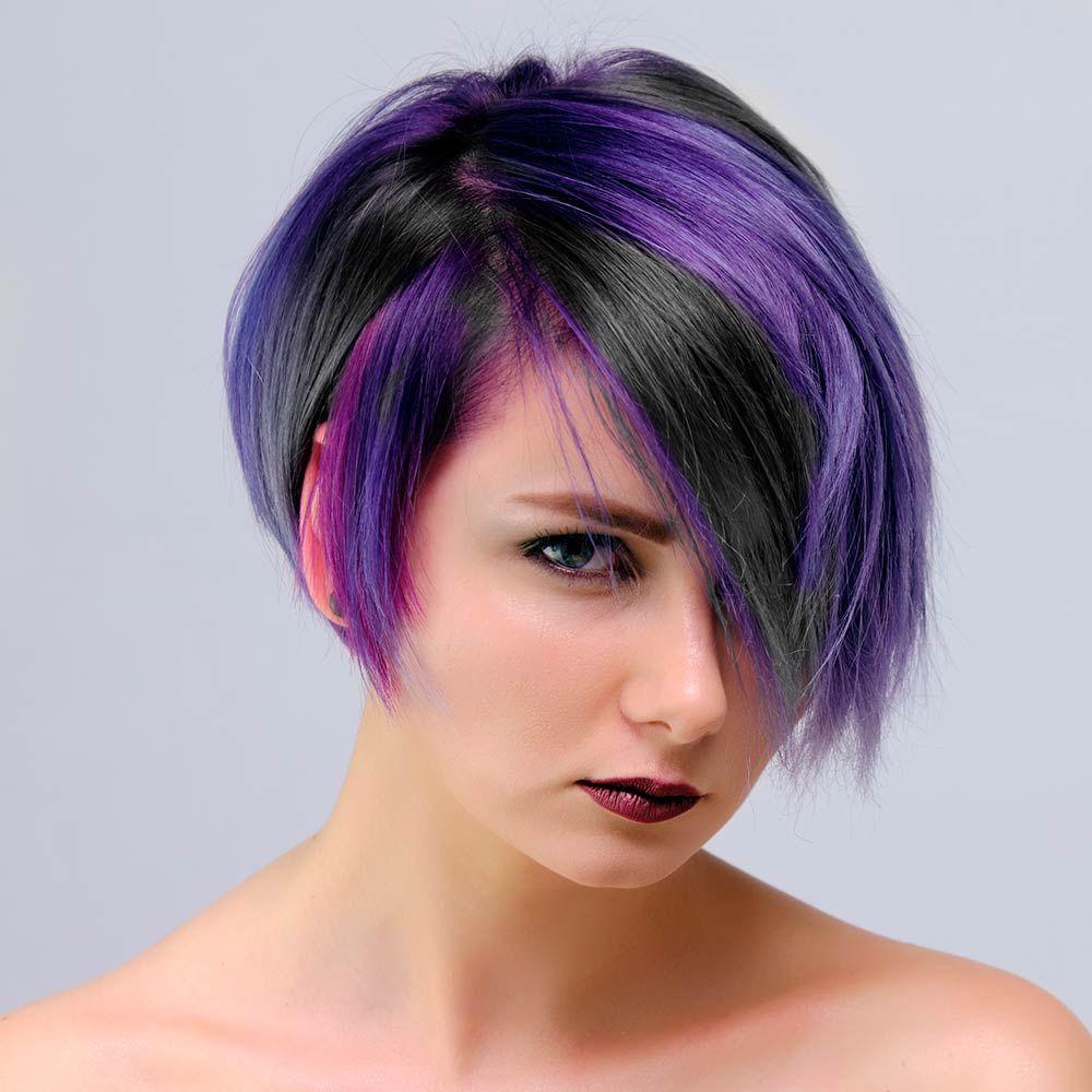 Sleek Long Brunette Bob with Purple Highlights