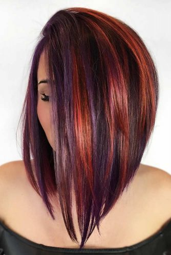 Sleek Long Brunette Bob with Purple Highlights #invertedbob #longbob #bobhaircut #purplehair