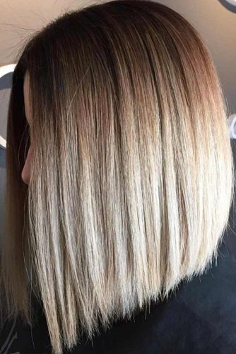 A-Line Lob with Trendy Balayage #bobhaircut #invertedbob #blondehair