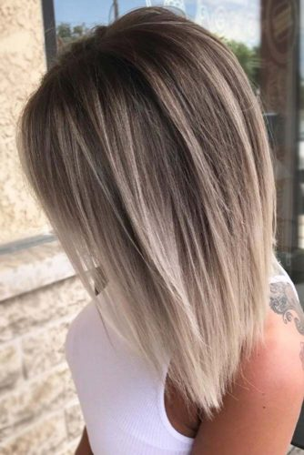 Stylish Layered A-Line Bob with Slight Graduation #bobhaircut #invertedbob #blondeombre #platinumblonde