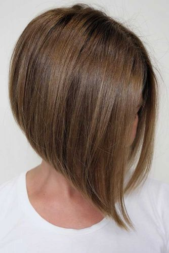 Sleek Brown Short A-Line Bob #bobhaircut #invertedbob #shortbob #straighthair