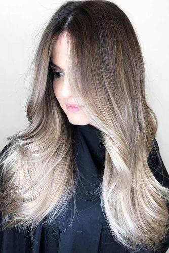 Blonde Balayage On Bold Ash Brown Hair #brownhair #bruentte #blondehair #balayage