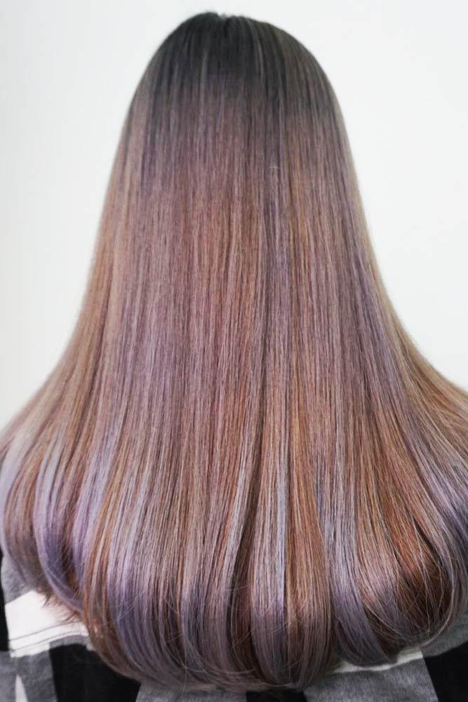 Sleek Brown And Lavender Hair #brownhair #brunette #highlights
