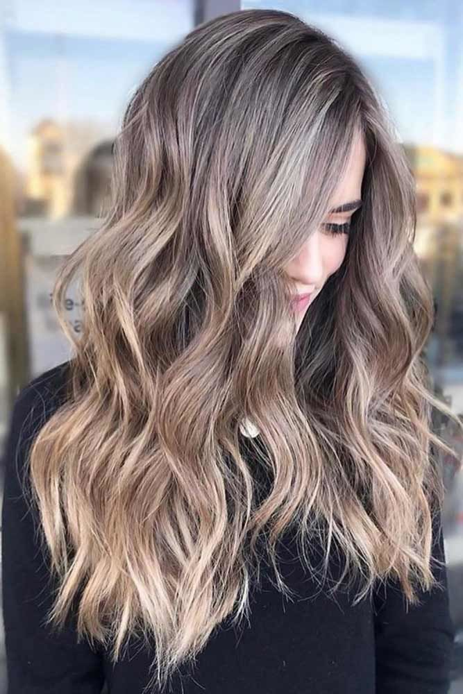 Ashy Hair With Babylights Caramel #ashbrown #brunette