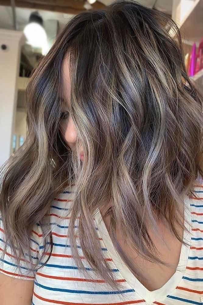 Ashy Ideas For Medium Hair Length Highlights #ashbrown #brunette