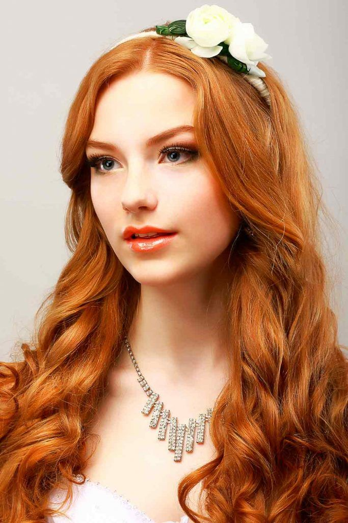 Rich Auburn Hair Color With Flowers #flowershair #prettyhairstyles