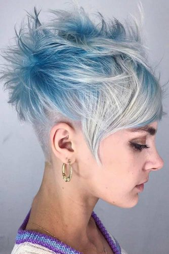 Undercut and Platinum Blonde to Frost Blue Balayage
