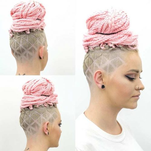 Updo Hairstyle With Fade Undercut