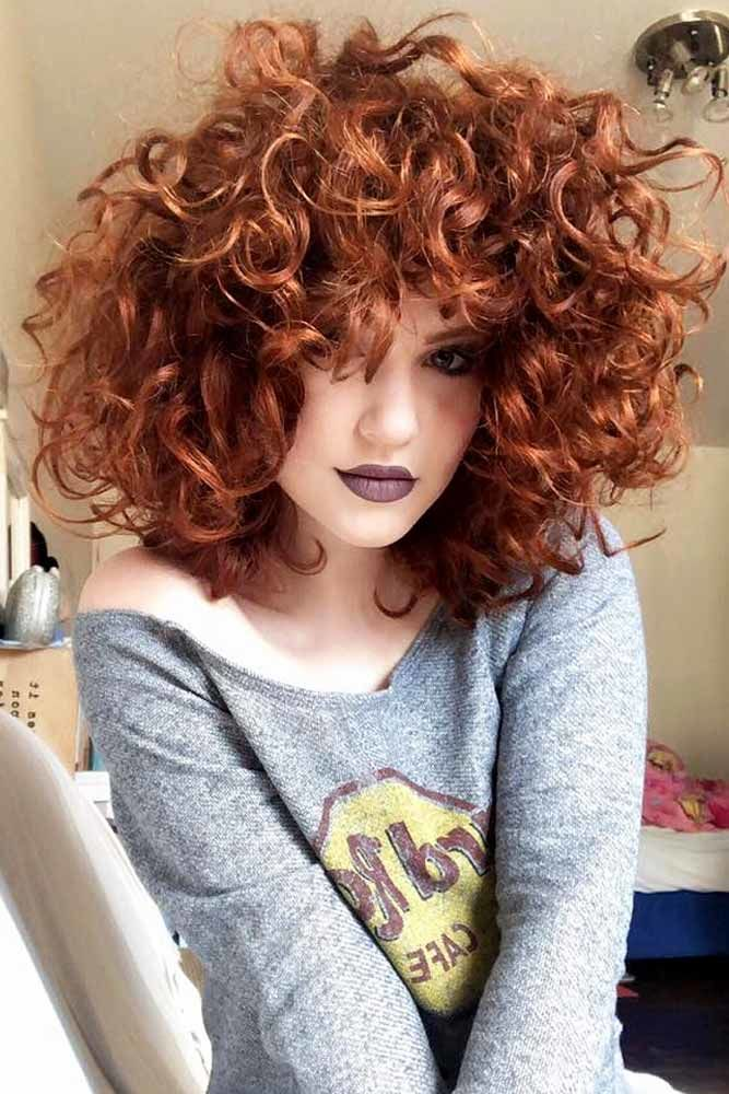 Shoulder Length Curly Hair Red #curlyhair #curlyhairstyles