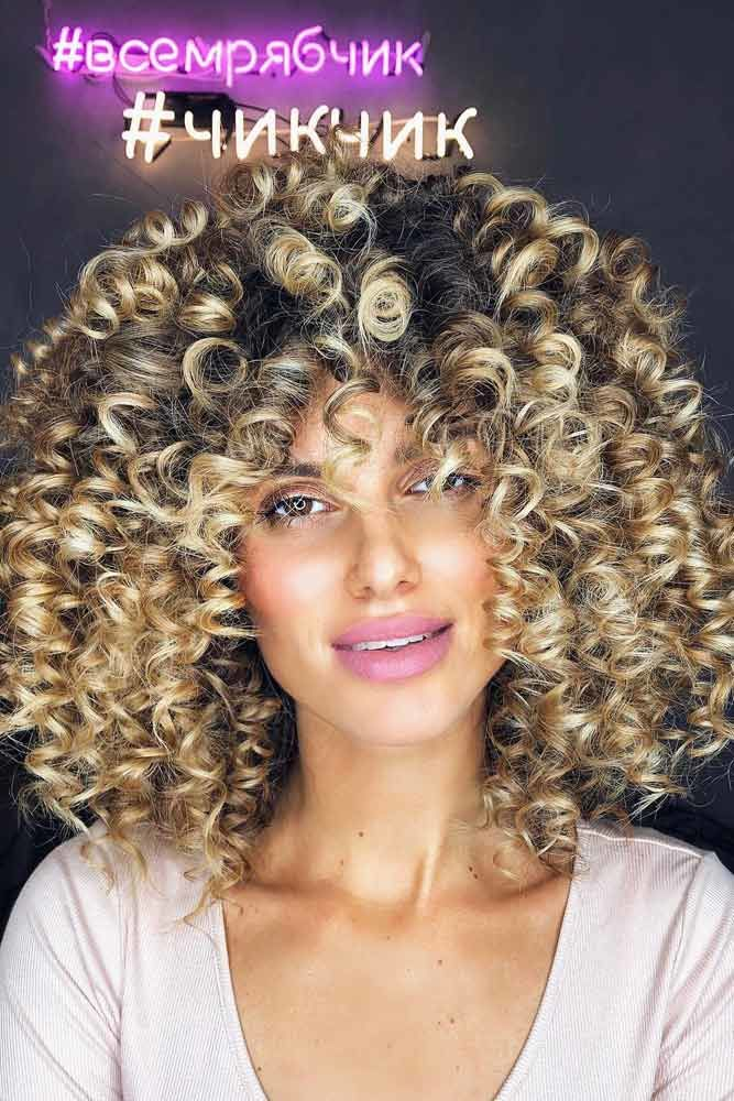Thick Curly Hair Ideas Blonde #curlyhair #curlyhairstyles