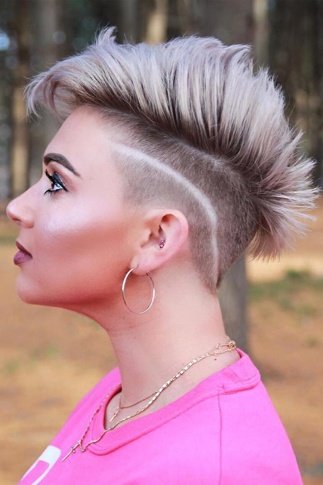Mohawk With A Shaved In Stripes Side #mohawkhaircut #haircuts