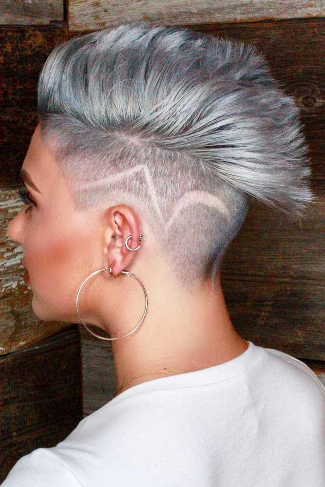 Hair Tattoo And Silver Mohawk #mohawkhaircut #haircuts