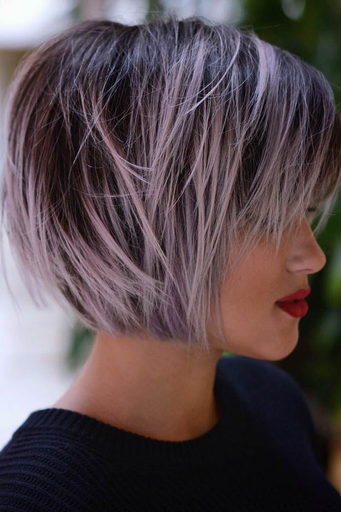 Messy Short Hairstyles With Thick Straight Bangs #shorthair #shortbangs #bobhaircut