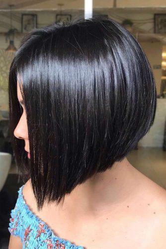 Black A line Bob #shorthaircuts #roundfaces #haircuts #bobcut
