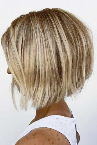 Blonde A line Bob #shorthaircuts #roundfaces #haircuts #bobcut