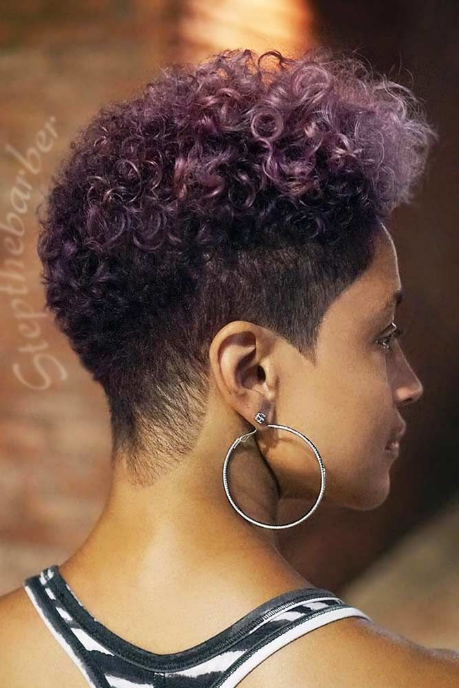 Natural Taper Fade Cut Purple #taperhaircutwomen