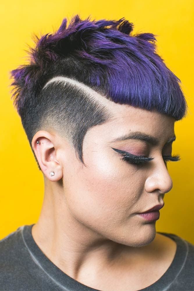 Taper Haircut Fade With Hairline Purple #taperhaircutwomen