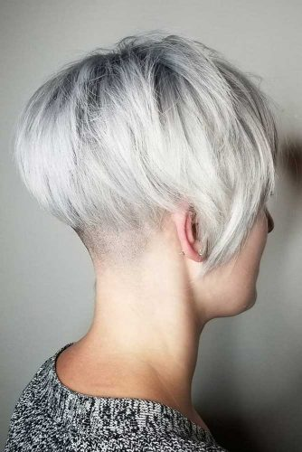 Icy Blonde Platinum Tapered Bob Haircut