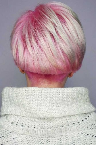 Platinum blonde and Cotton Candy Tapered Bob