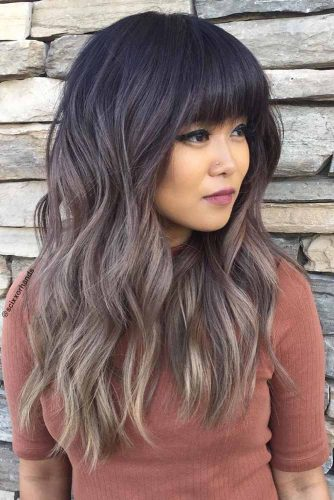 Get A Full Bang And Ash Wavy Ombre #longhaircuts #layeredhaircuts #longhairwithbang #ashombre