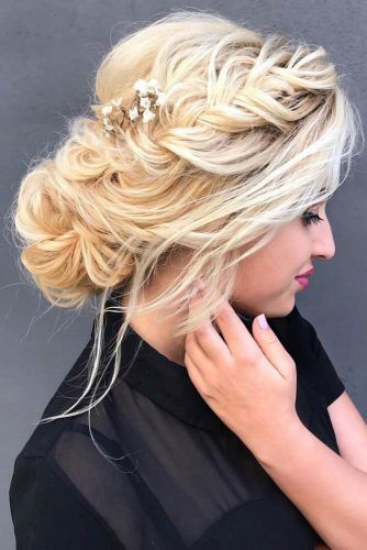 Chignon Bun With Flowers Crown Braid #bun #chignonbun #updo