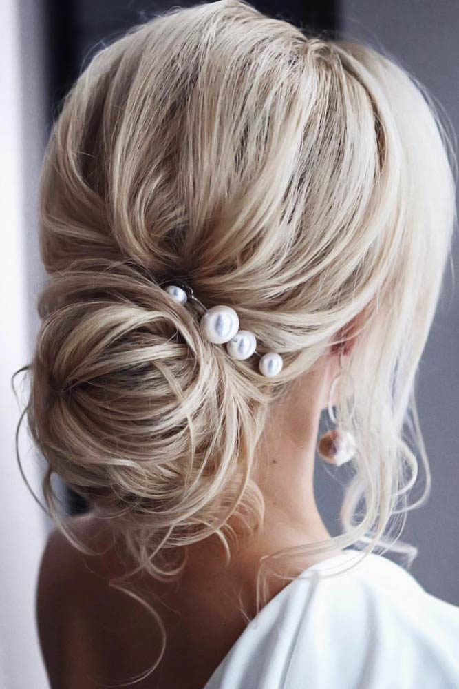 Chignon Buns Long Bangs With Pearls #bun #chignonbun #updo