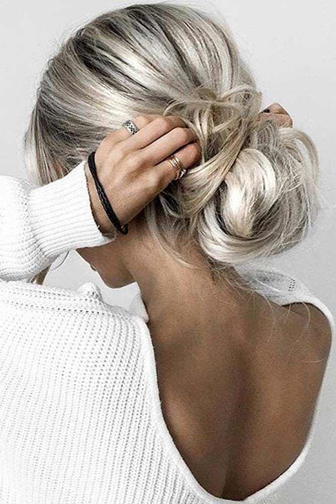Low Bun Hairstyles Messy #updo #bun