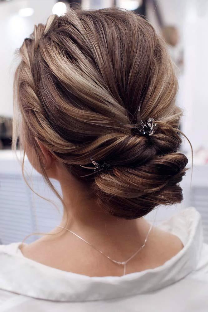 Accessorized Low Chignon Bun With Twists #chignonbun #hairstyles #bunhairstyles