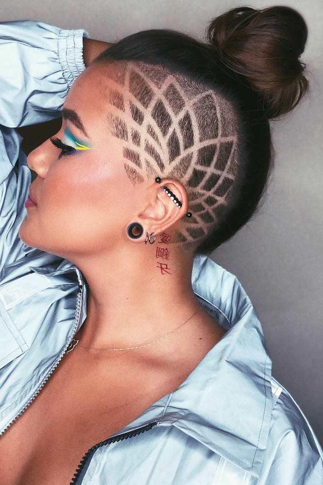 Disconnected Undercut Tattoo And Hair Bun #hairstyles #undercut #disconnectedundercut