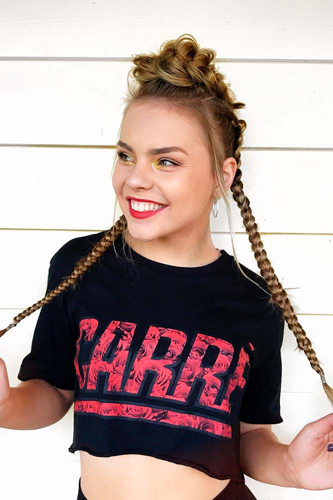 Braided Faux Hawk Long Hair Style Light Brown Dirty Blonde Balayage
