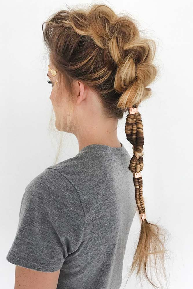 Braided Faux Hawk Long Hair Style picture3