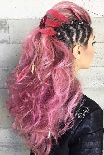 Faux Hawk Hairstyle For Every Length Black Pink Braided Balayage