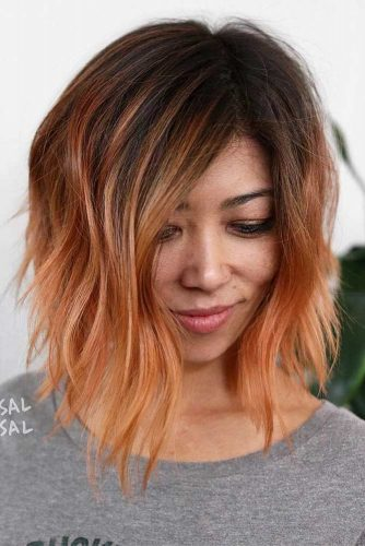 Layered Inverted Bob Cut #invertedbob #peachyhair #layeredhair