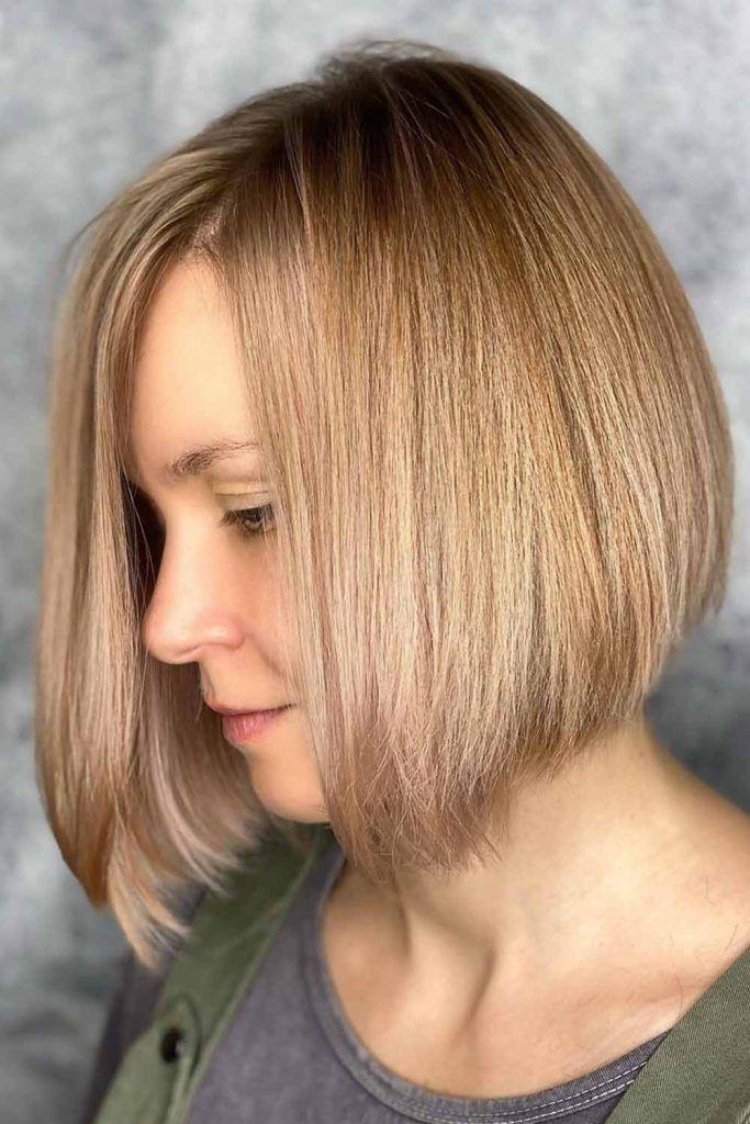 Medium Length Bob Hairstyles For Straight Hair Balayage #invertedbob #bob
