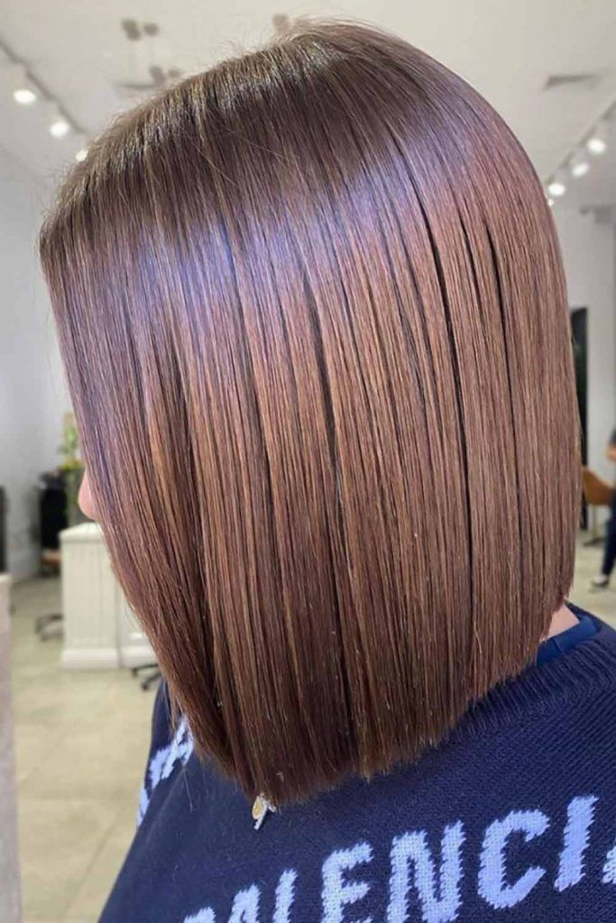 Medium Length Bob Hairstyles For Straight Hair Brown #invertedbob #bob