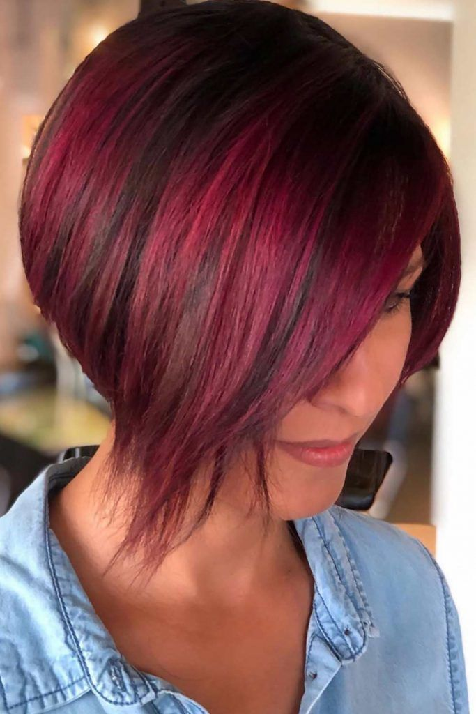 Short Straight Inverted Haircut Red #invertedbob #bob
