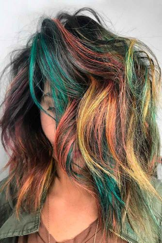 Splash Of Color and Bob Haircut #messybob #layeredbob #sidesweptbangs #rainbowhair