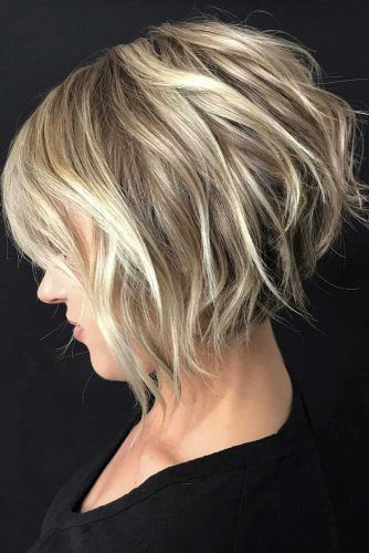 Short Layered Bob with Bangs #bobhaircut #shortbob #bobwithbangs #layeredhair