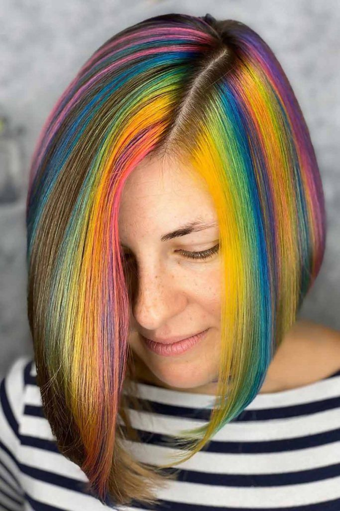Medium Length Bob Hairstyles For Straight Hair Rainbow #invertedbob #bob