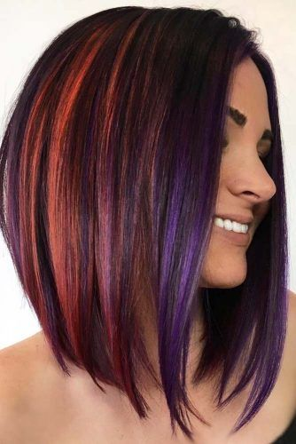 Splash Of Color and Bob Haircut #invertedbob #layeredbob #rainbowhair