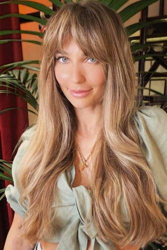 Arched Bangs Lights Brown #longhair #longhaircuts