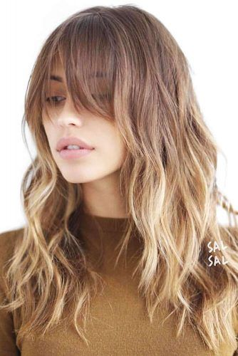 Messy Long Haircut With Center Parted Bangs #longhaircuts #haircuts