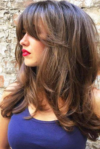 Voluminous Long Haircut With Center Parted Bangs #longhaircuts #haircuts