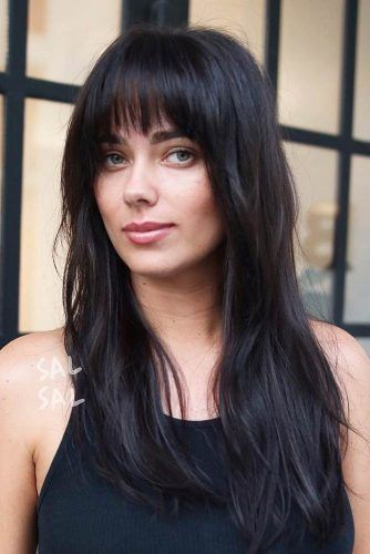 Straight Long Hair With Blunt Bangs #longhaircuts #haircuts